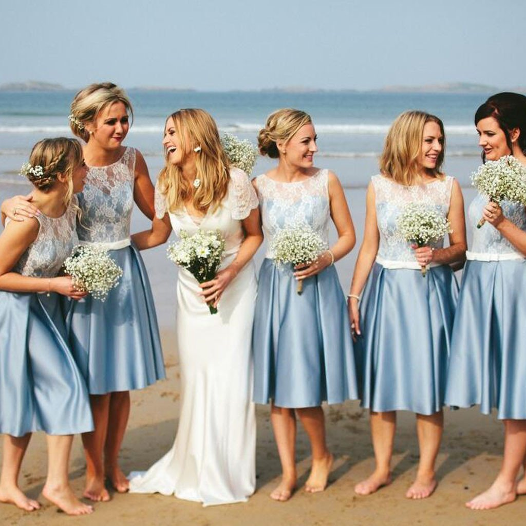 Por Junior Short Pretty Blue Satin White Lace Bridesmaid Dresses For Beach Wedding