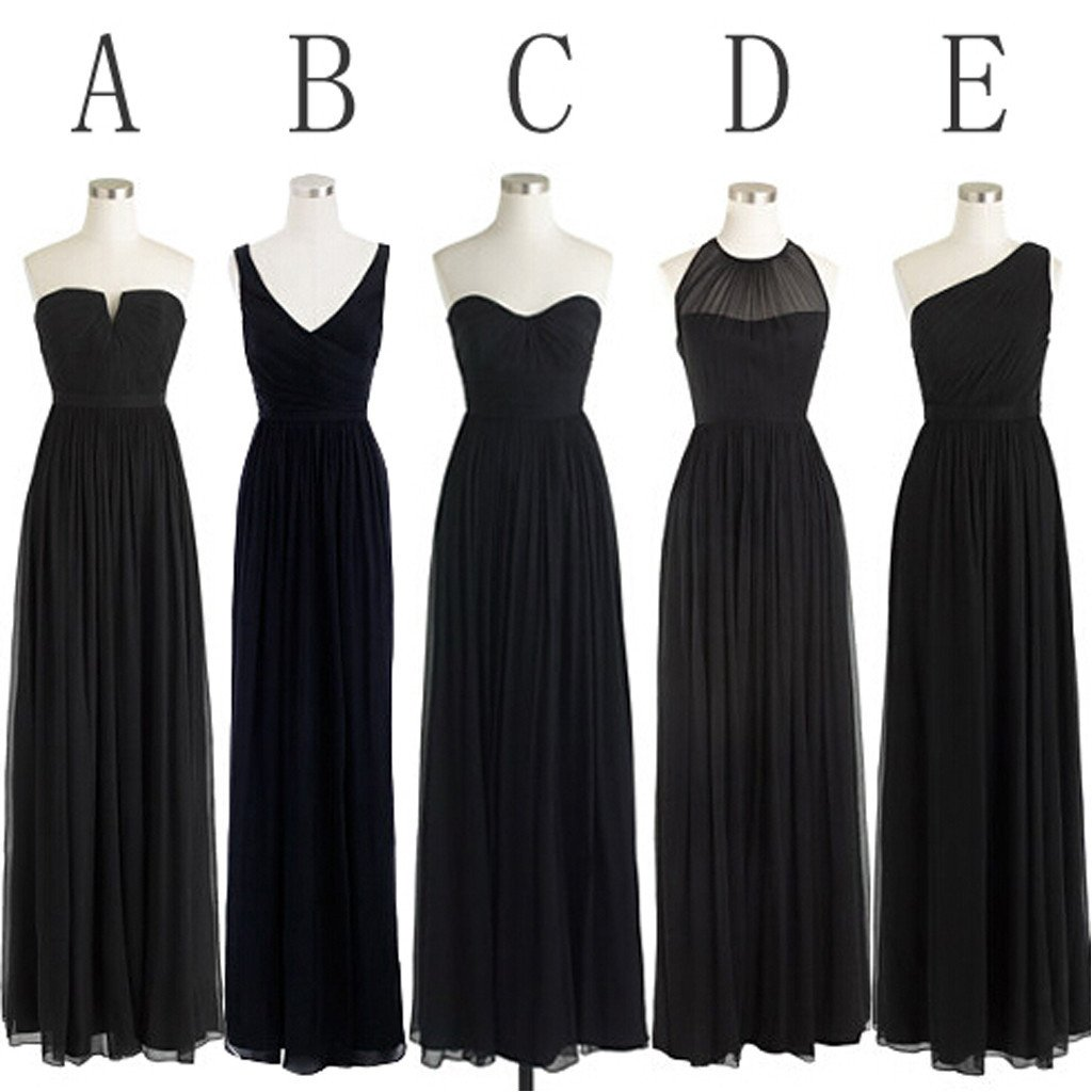 Black Simple Mismatched Styles Chiffon Floor Length Formal Long Bridesmaid Dresses Wg187