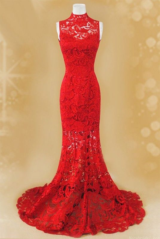 Red Prom Dresses Lace Long Woman's Mermaid Sexy Prom Gown