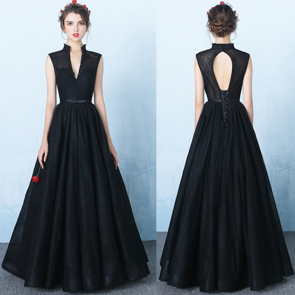 New Design Black Lace V Neck Prom Dresses,Standup Neck Backless Ball ...