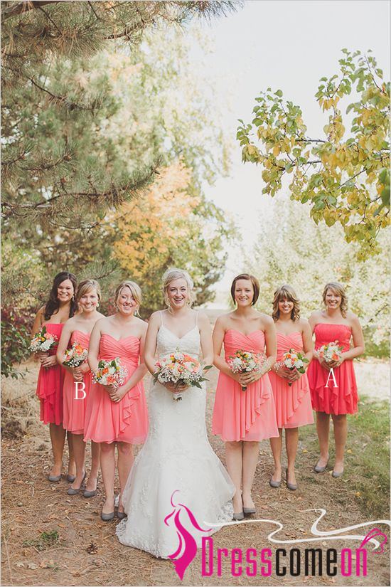 Rustic Bridesmaid Dress Chic Strapless Coral Gown Blush Pink Chiffon Knee Length Bridesmaid Dresses For Wedding