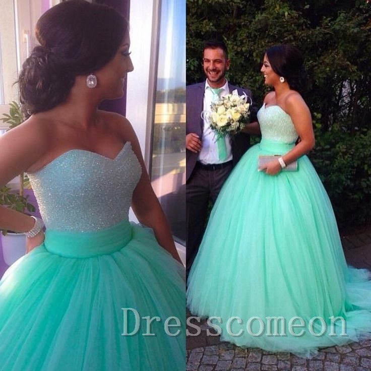 898cbb4d17c Top Selling 2017 Empire Waist Mint Prom Dress