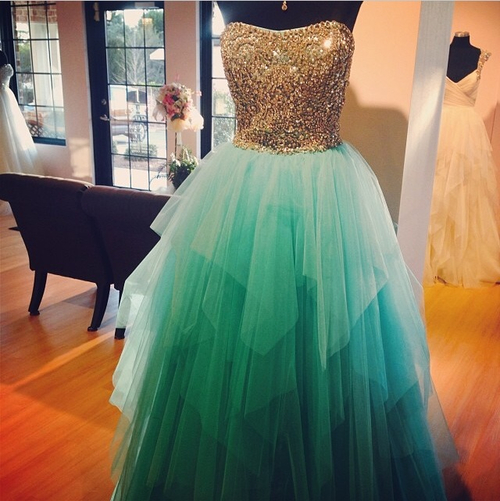 Turquoise Prom Dress Ball Gown Strapless Neckline With Gold Bead Bodice  Tulle Long Evening Dresses Sweet 16 Gowns 5efbc1482