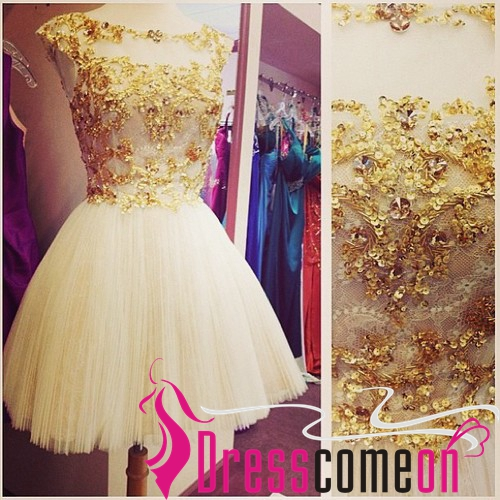 2017 Ball Gown Scoop Cap Sleeved Gold Sequins Tulle White Cocktail Dresses