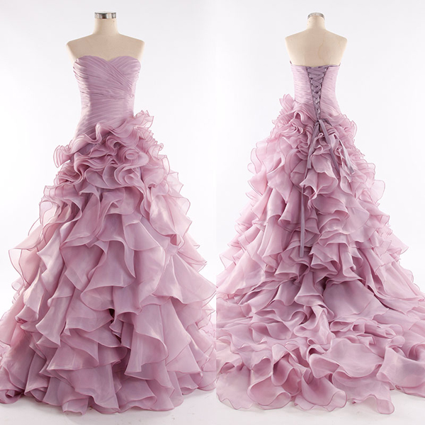 Hand Made Ball Gown Sweetheart Pink Chiffon Quinceanera Dress/Prom Dress