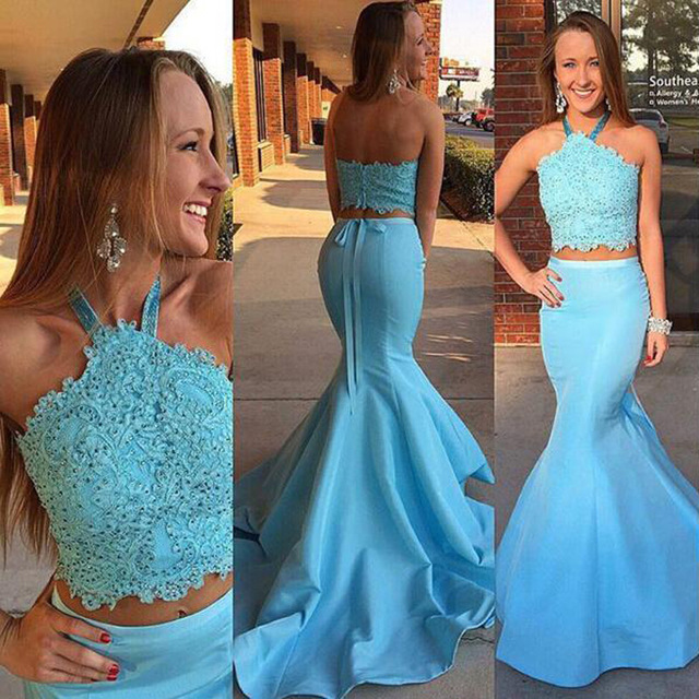 Blue Two Pieces Mermaid Evening Prom Dresses f23cb4707105