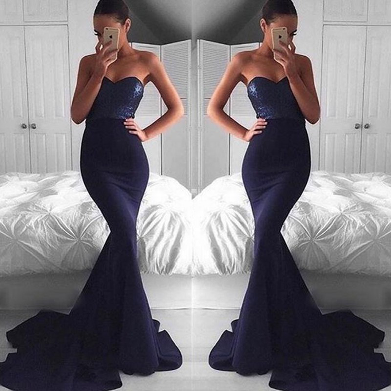 Sequin Navy Blue Prom Dresses Sexy Mermaid Prom Dress Formal Prom