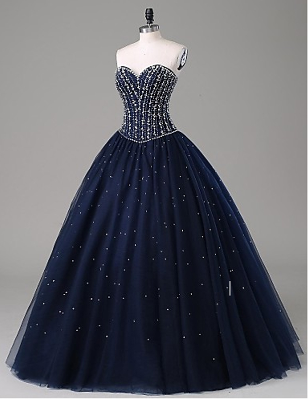 Hot Sales Navy Blue Ball Gown Prom Dresses,Sweetheart Beaded Quinceanera Dresses,Custom Made Long Evening Prom Gowns Quinceanera Dress