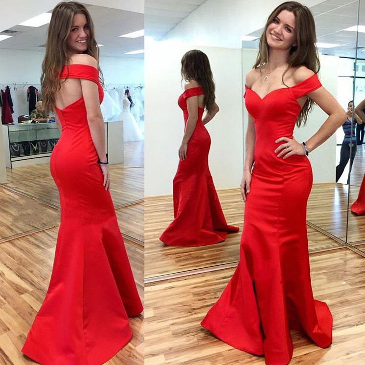 Backless Red Mermaid Prom Dresses