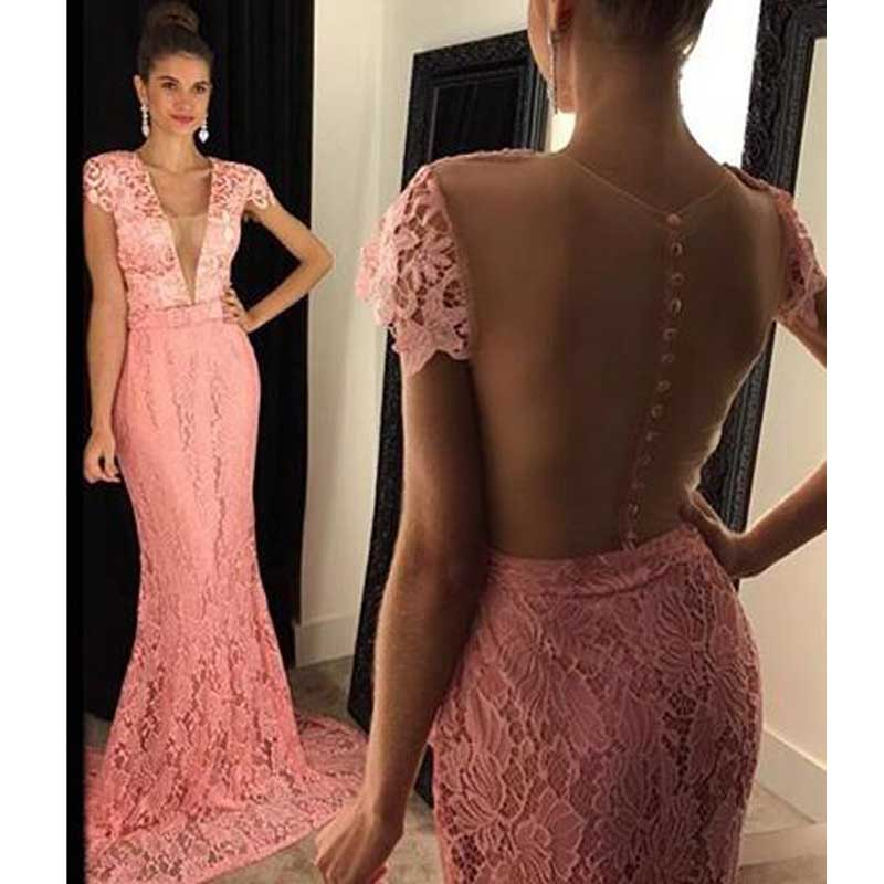 Cap Sleeve Peach Lace Mermaid Evening Prom