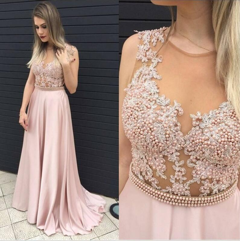 Lace Blush Pink Evening Prom Dresses 2017 Long Y See Through Party Dress Custom 17033