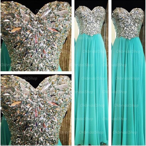 Blue Rhinestone Prom Dress