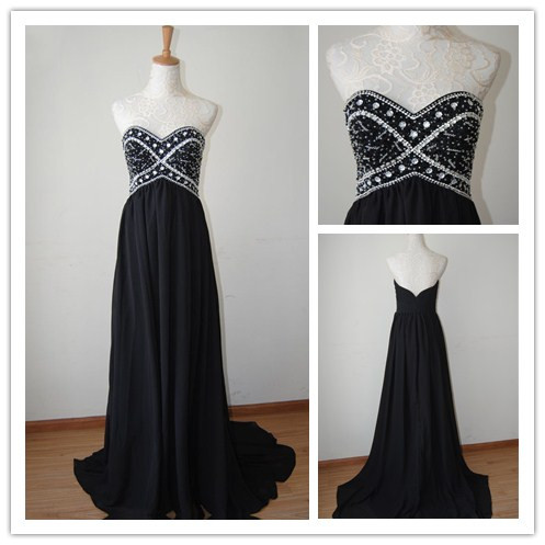 Pretty Black High Quality Sweetheart Court Train Prom Dress 2017, Prom 2017, Evening Dresses, Party Dresses, black prom dresses,PD380062