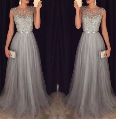 New Tulle Grey Prom Dresses Modest Evening Dress With Sparkle Beads