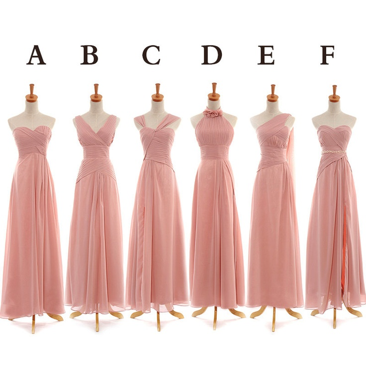 Pink Bridesmaid Dresses, Floor Length Bridesmaid Dress, Mismatched ...