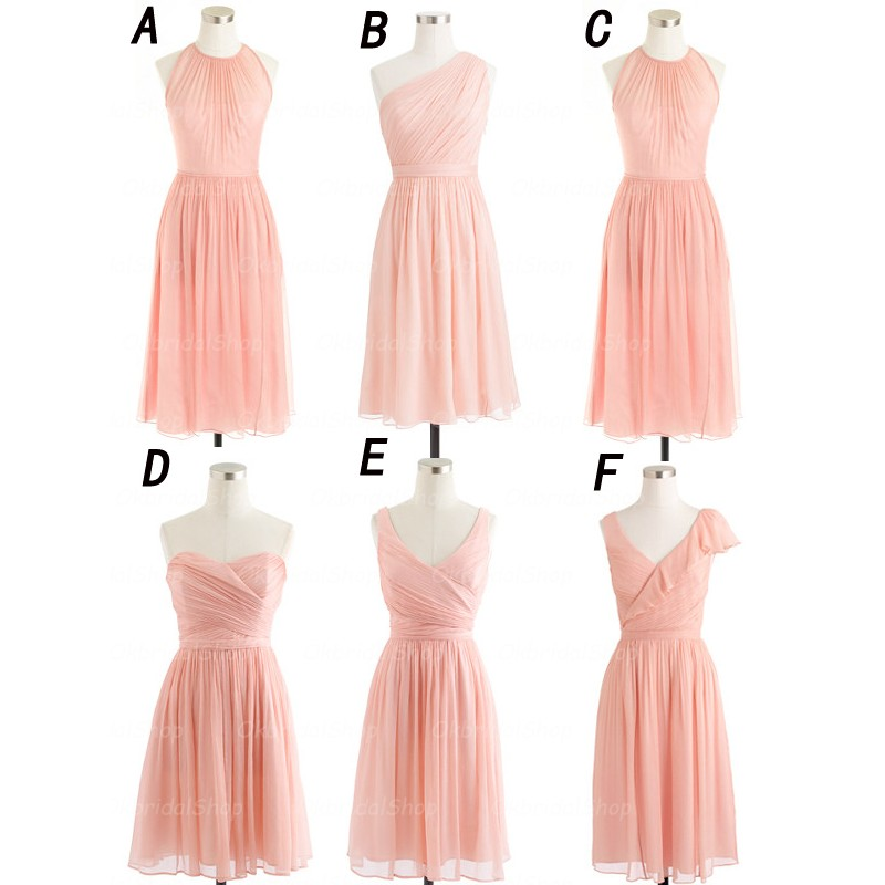 Blush Pink Bridesmaid Dresses Short Chiffon Wedding 16310