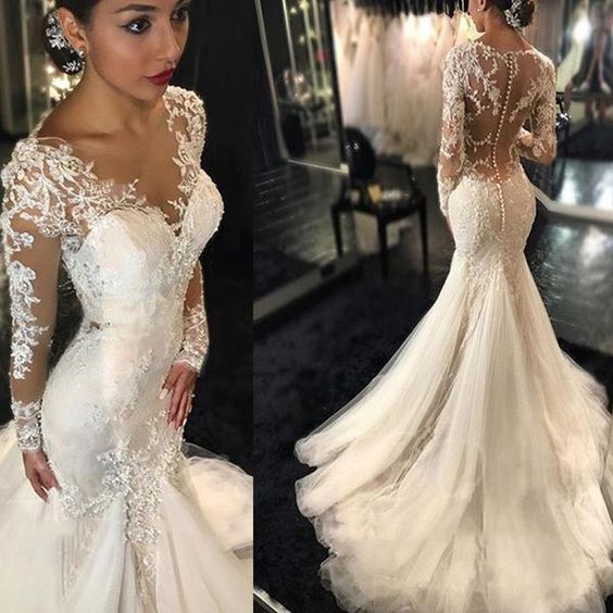 Boho Wedding Dresses Princess Backless With Long Sleeves Lace Skirt Mermaid Elegant White Gowns
