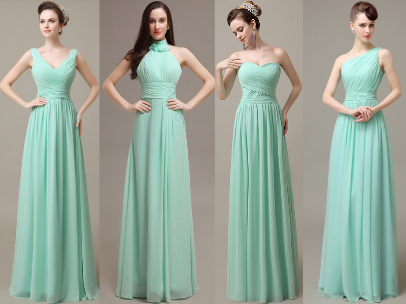 Mint Bridesmaid Dresses Chiffon Long Dress Custom 16322