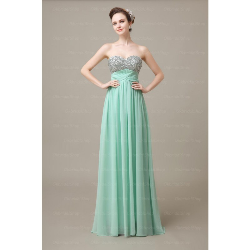 Custom Made Mint Green Strapless Floor Length A Line Bridesmaid Dresses With Sequin Bodice