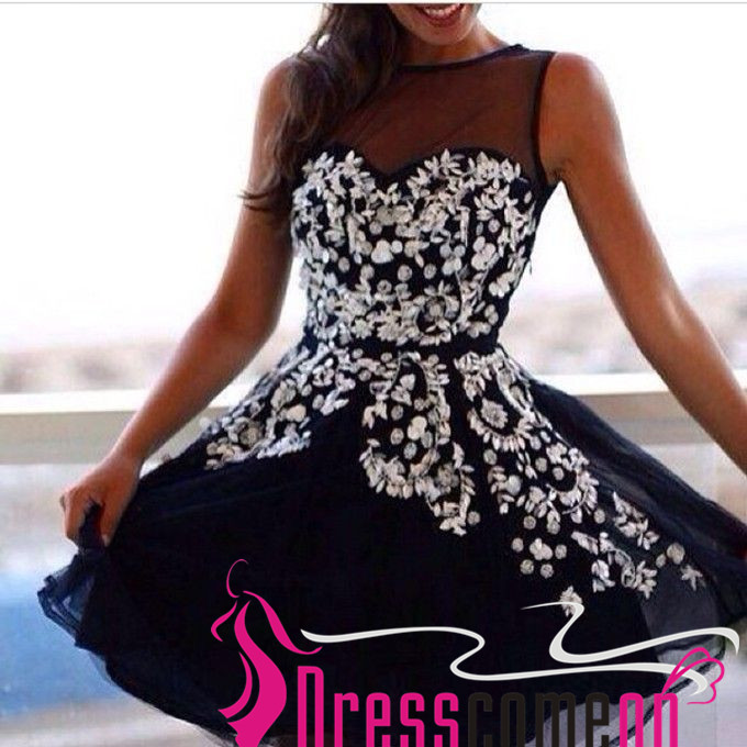Navy Blue and White Lace Short Prom Dresses with That Are