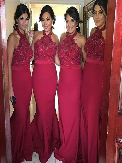 New Arrival Burgundy Lace Bridesmaid Dresses Halter Mermaid Backless Wine Red Gowns Prom Dress Long Evening