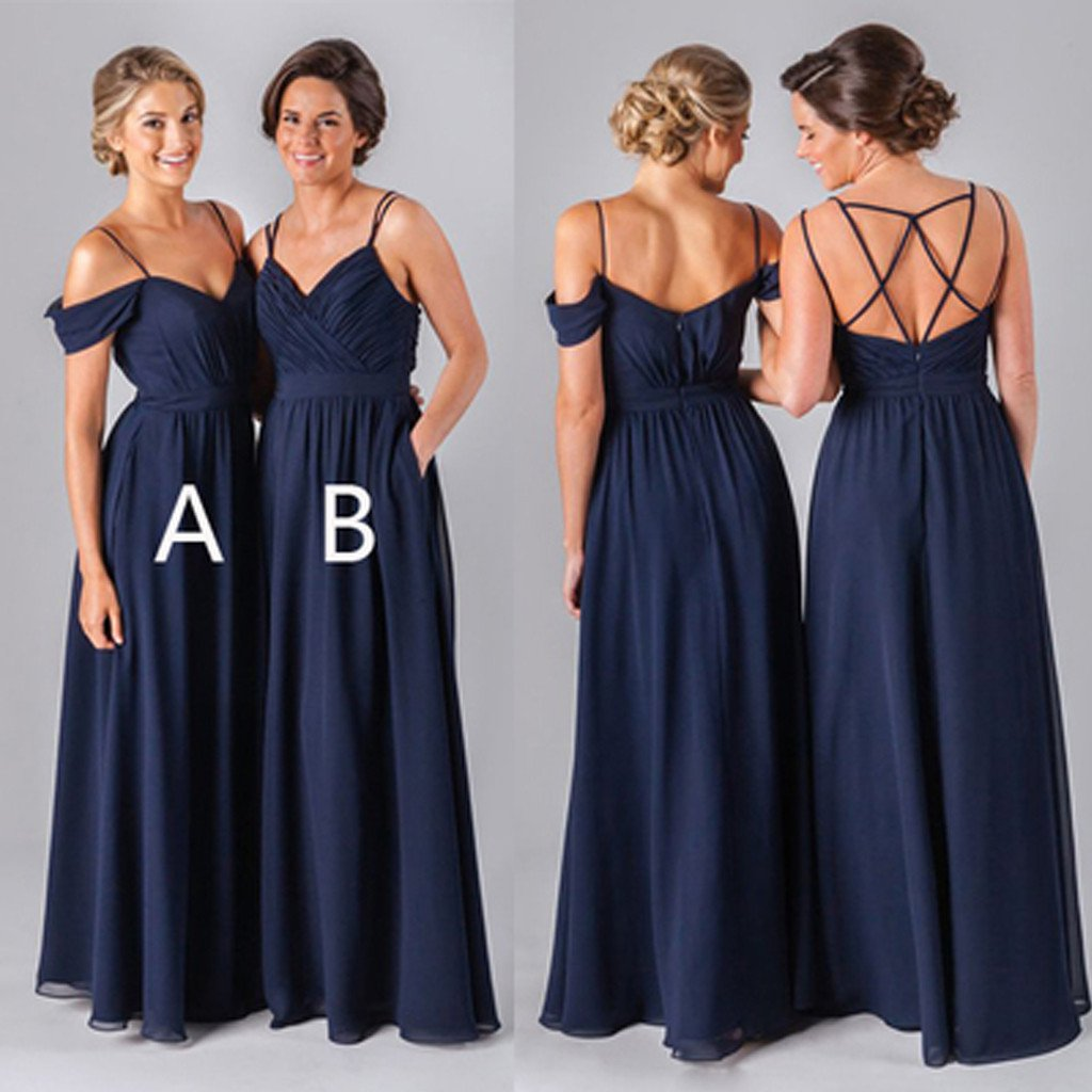 2017 Navy Long Bridesmaid Dresses Chiffon Custom Dress Affordable 17134