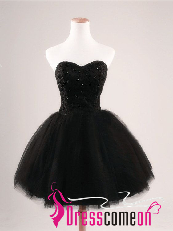 Black Short Prom Dress Simple Ball Gown Strapless Tulle Lace Party Dress Homecoming Dresses Cocktail Gown