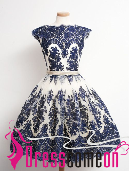 Vintage Navy Blue Short Prom Dress Ball Gown Lace Homecoming Dresses Cute Gown For Teens Juniors