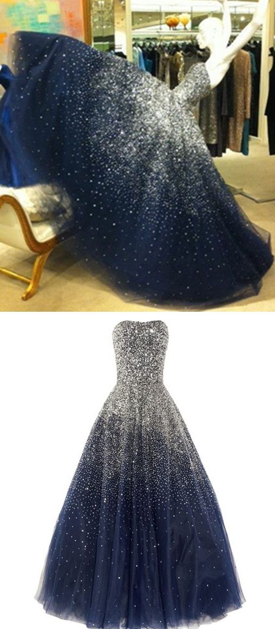 0494ae4a9 Princess Ball Gown Strapless Navy Blue Prom Dress With Sparkle Sequins  Corset Back Tulle Long Dark Navy Prom Gown For Teens