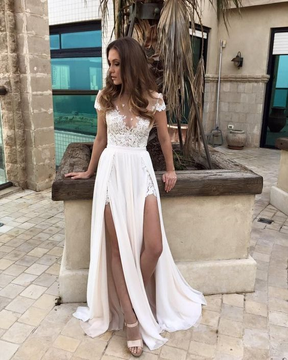 85f87402adf Summer Chiffon Wedding Dresses Lace Top Short Sleeves Side Slit Garden  Elegant Bridal Gowns