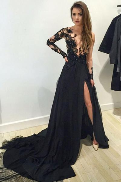 ff6948c255494 Stunning sparkly Evening Gowns Long sleeve Prom Dress lace Black Prom Dress  2017 Prom Dresses