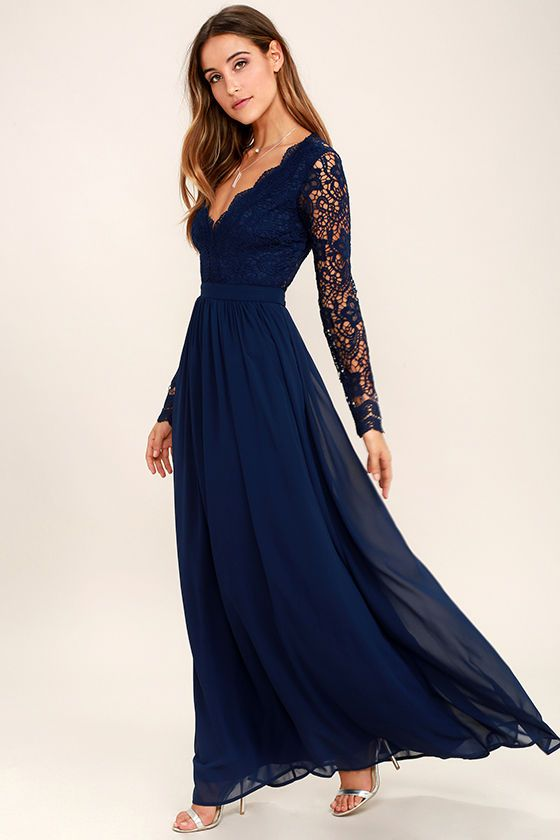 Navy Blue Bridesmaid Dresses A Line Long