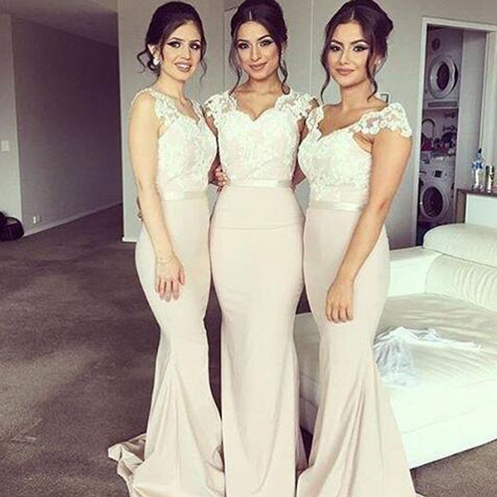 Cap Sleeve Lace Mermaid Long Bridesmaid Dresses 72550c463