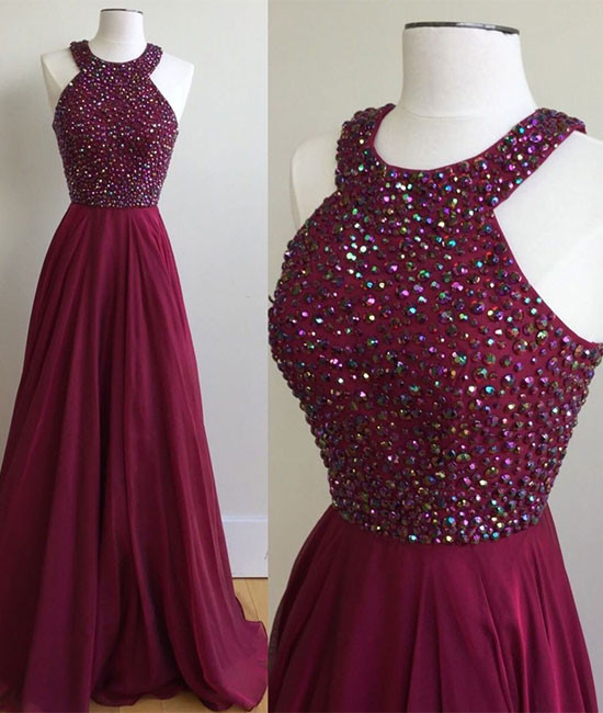 Halter Chiffon Red Evening Prom Dresses, Custom Party prom dresses, cheap prom dresses, prom dresses online , Long prom dresses, 17057