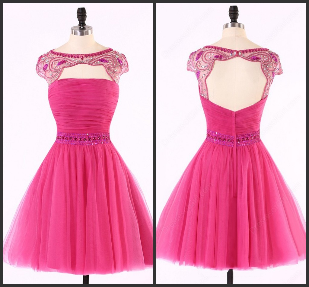 Backless Homecoming dress, Sexy Hot Pink homecoming dress, Tulle homecoming dress, Sexy homecoming dress, dresses for homecoming, 17617