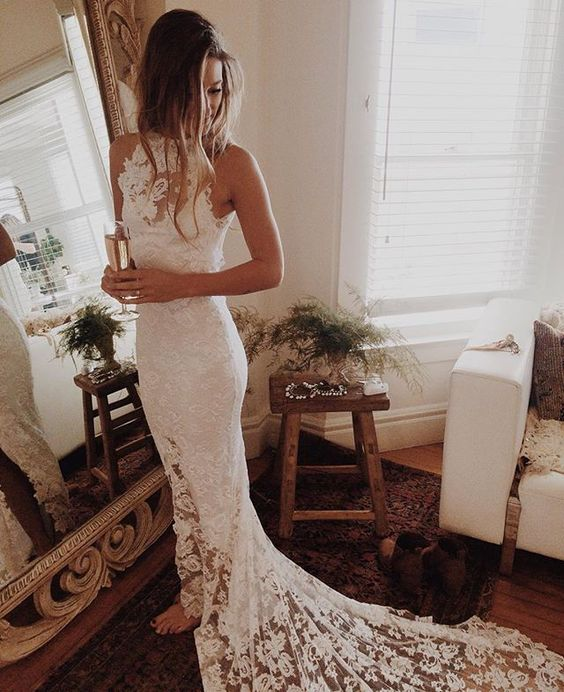 Boho Wedding Dresses Princess Backless Lace Skirt Mermaid Elegant White Gowns