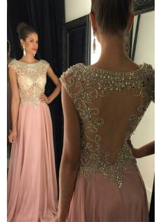 New Pearl Pink Backless Prom Dresses Modest Evening Dress With Sparkle Cap Sleeves Beads Long Chiffon Formal Gown For Senoir Teens