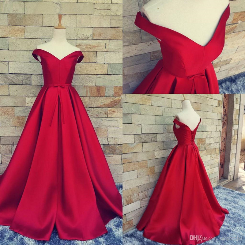 dd8c114091d Simple Ball Gown Off The Shoulder Red Satin Prom Dress Fitted Corset Formal  Gown Evening Gowns For Teens