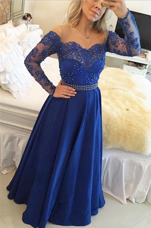 Lace Evening Dress With Long Sleeves Royal Blue Prom Gowns Modest Prom Dresses For Teens Formal