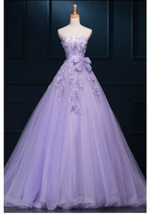 148005c022 New Fashion Ball Gown Princess Tulle Lilac Prom Dresses With Flowers lace long  Evening Dress