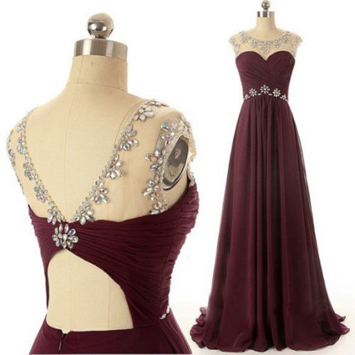Classic A-line Beads Long Burgundy Prom Dress