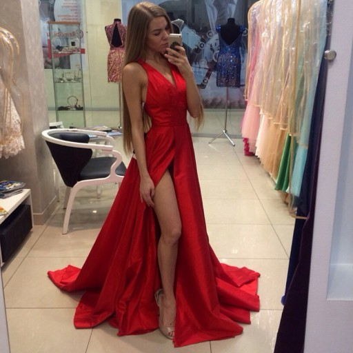 Gorgeous A-line Halter Long Red Prom Dress with Side Slit