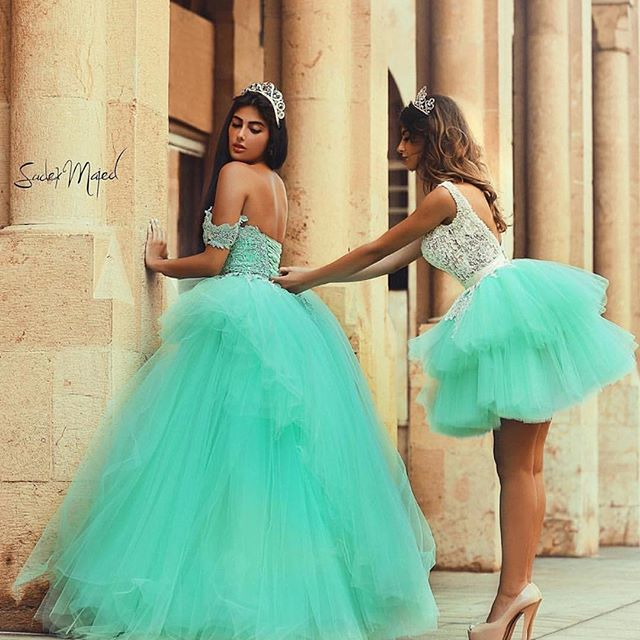 Mint Green Prom Dress With Lace on Luulla