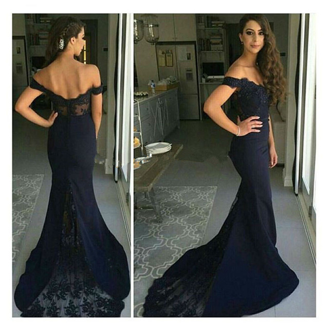 Gorgeous Off The Shoulder Mermaid Long Navy Blue Prom Dressevening