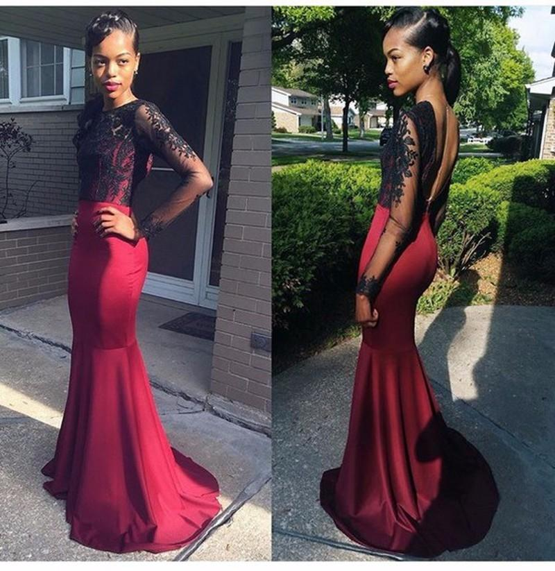 Gorgeous Mermaid Long Prom Dress With Black Lace On Luulla