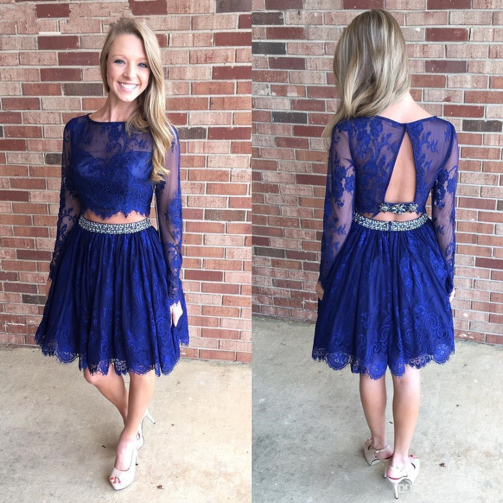 Cute A-line Long Sleeves Royal Blue Short Homecoming Dress with Open Back