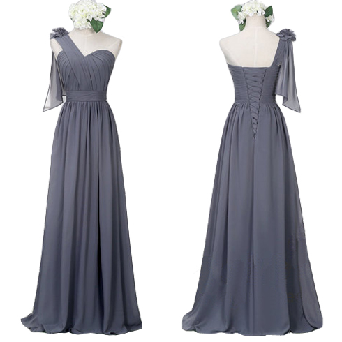 One Shoulder Bridesmaid Dresses,Grey Chiffon Bridesmaid Dresses,Long Bridesmaid Dress,Cheap Bridesmaid Dresses,A line Formal Woman Dress Prom Gowns