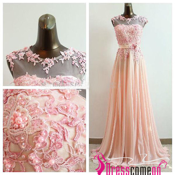 Sexy Custom High Neck Beads Appliques Coral Blush Chiffon Long Prom Dress/Evening Dress/Party Dresses/Homecoming Dresses/Bridesmaid Dress BON18