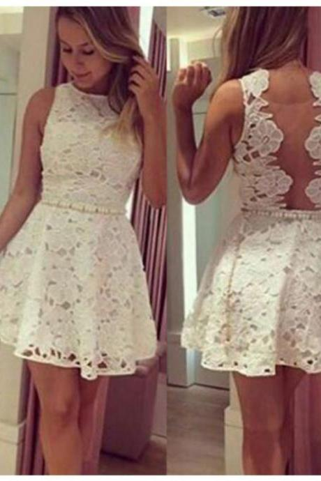 2017 A-line Homecoming Dresses Sleeveless Bateau Short/Mini Pearls On Sale Zipper Dresses