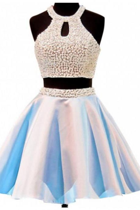 2017 A-line Homecoming Dresses Sleeveless Jewel Short/Mini Pearls Customized Backless Dresses
